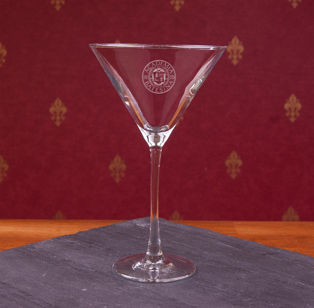Martini Glass with Etched Bates Seal - Commencement, Gifts, Glassware