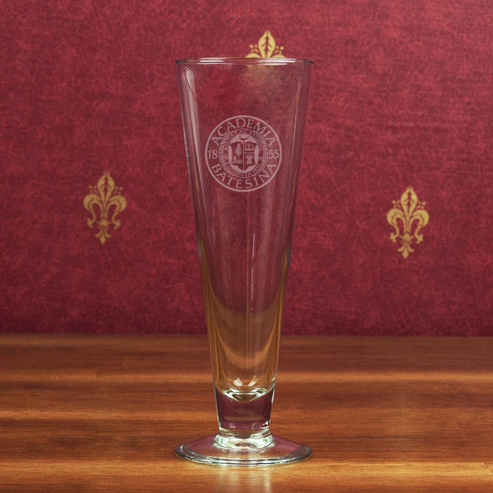 Classic Pilsner with Etched Bates Seal - Commencement, Gifts, Glassware