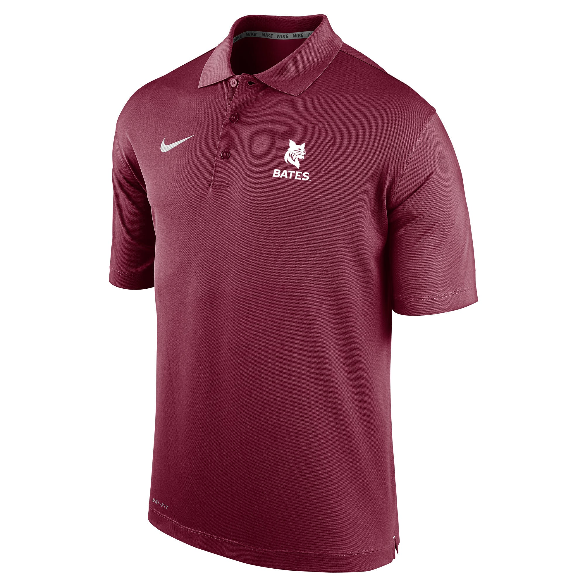 men 39 s nike performance polo shirt with embroidery bates college store. Black Bedroom Furniture Sets. Home Design Ideas