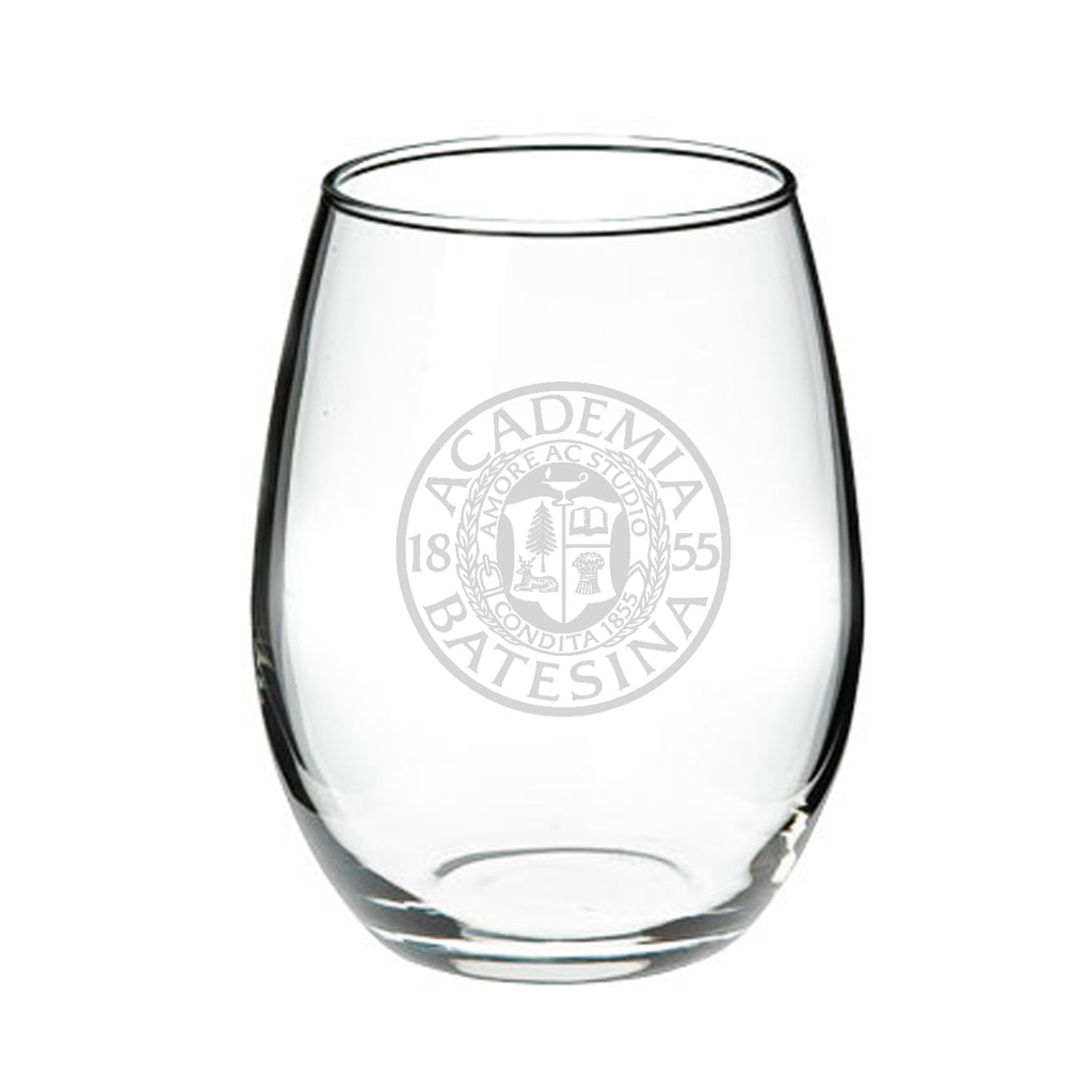 15oz Stemless Wine Glass with Etched Bates Seal