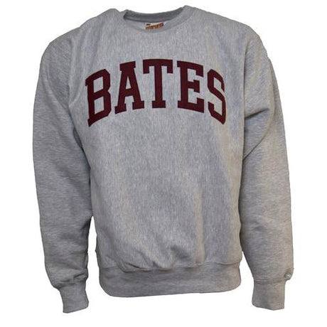 Heather Gray Bates Crewneck Sweatshirt with Felted Lettering