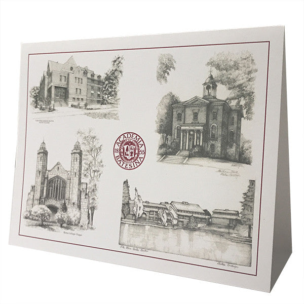 Single Bates Building Sketches Greeting Card