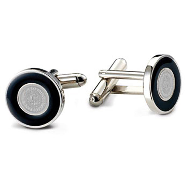 Bates Seal Cuff Links with Black Enamel