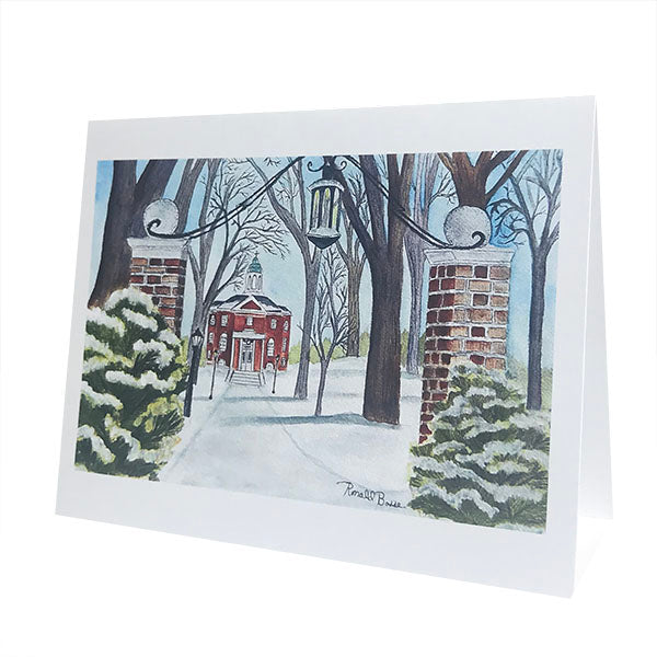 Single Snow Covered Quad with Hathorn Hall Card