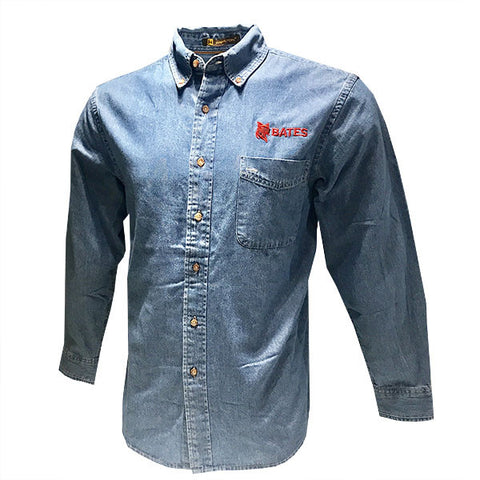 Men's Denim Button Down Shirt - Long Sleeve T-Shirt, New Item