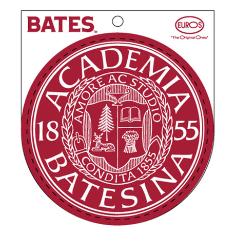Round Garnet Vinyl Sticker of Bates Seal