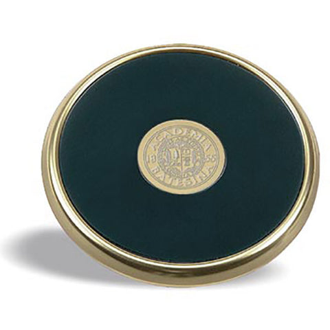 Gold Tone and Leather Coaster - Commencement, Decor, Gifts