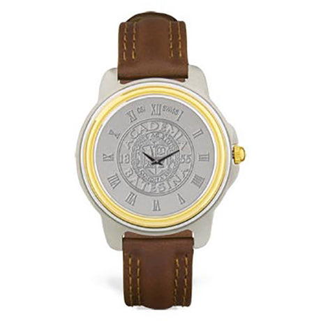 Two Tone Stainless Men's Watch with Brown Strap