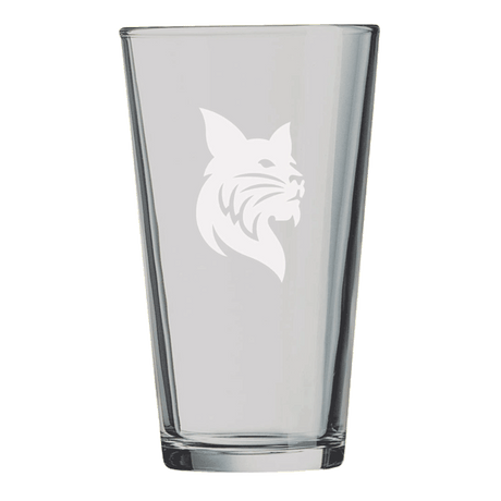 16oz Pint Mixing Glass With Etched Bobcat