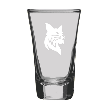 2oz Shot Glass with Etched Bobcat