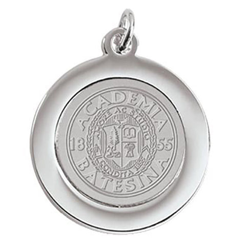 Bates Seal Silver Toned Charm Pendant - Commencement, Gifts, Jewelry
