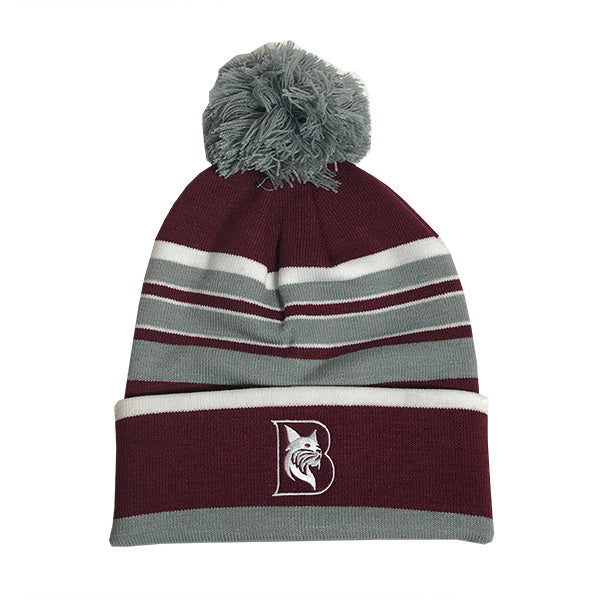 Striped Knit Winter Hat with Pom Pom