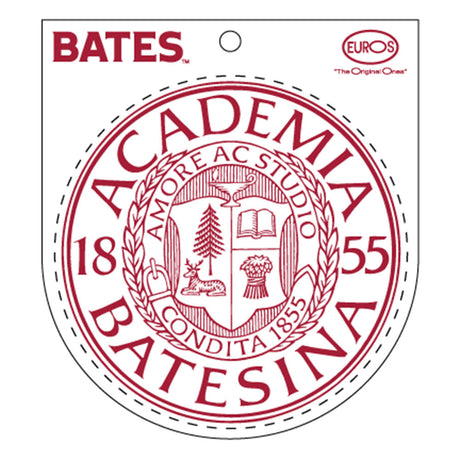 Round White Vinyl Sticker of Bates Seal