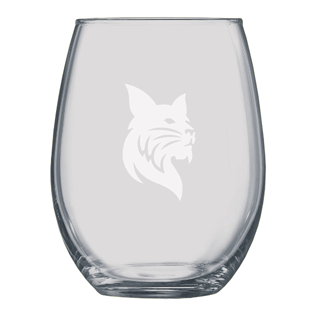 15oz Stemless Wine Glass with Etched Bobcat