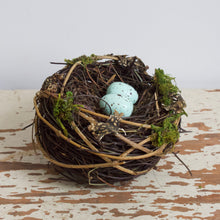 Load image into Gallery viewer, Twig Nest with Faux Robin Eggs