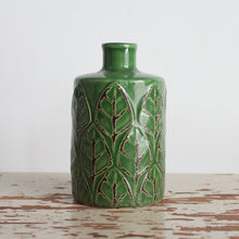 Load image into Gallery viewer, Embossed Stoneware Vase Green