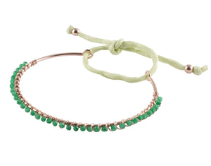 Bracciale bangle in argento con pietre naturali