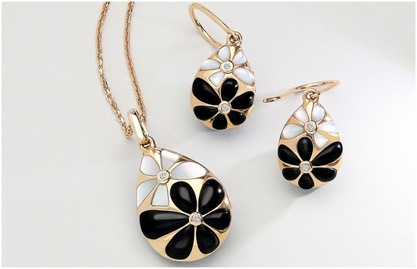 18ct-rose-gold-whitby-jet-diamond-mother-of-pearl-flower-pear-two-piece-set