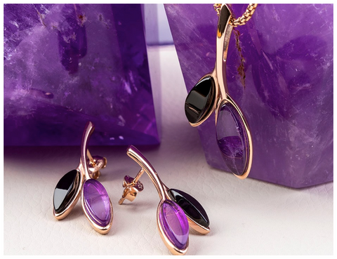 rose-gold-vermeil-whitby-jet-amethyst-leaf-drop-stud-earrings-and-necklace