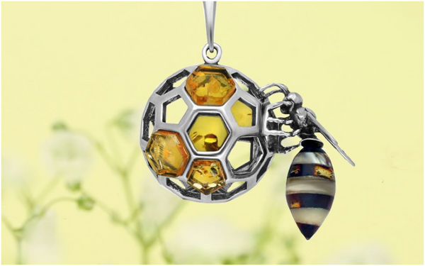 sterling-silver-amber-medium-bee-honeycomb-ball necklace