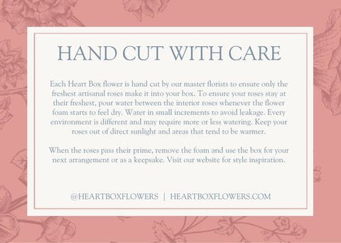 Heart box flowers care instructions