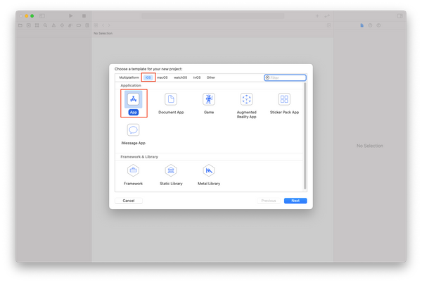 Xcode Choose a template for your new project