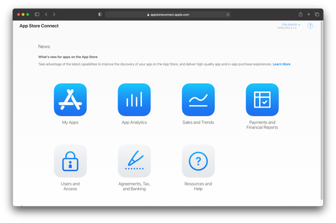 Screenshot of AppStore Connect displaying dashboard for admin user.
