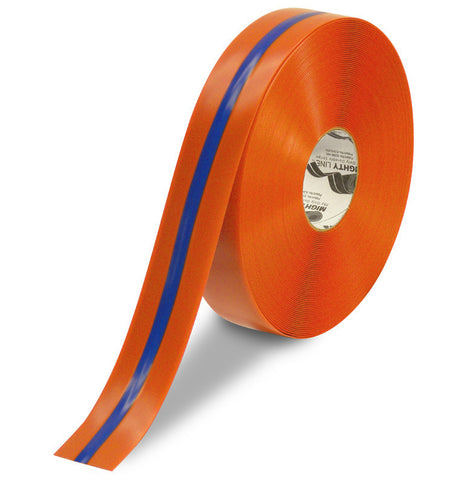 "2"" Orange Tape with Blue Center Line - 100'  Roll"
