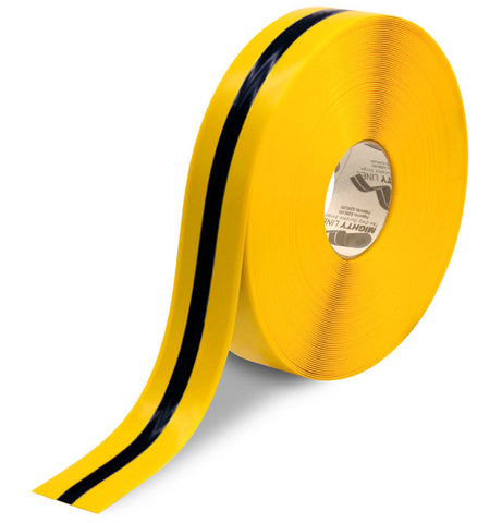 "2"" Yellow Tape with Black Center Line - 100'  Roll"