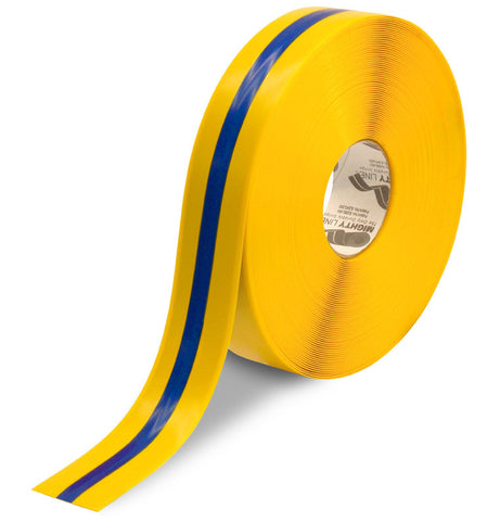 "2"" Yellow Tape with Blue Center Line - 100'  Roll"