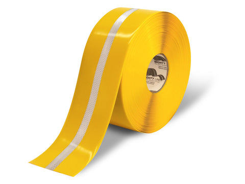 "4"" Yellow with Reflective Center Line - 75' Roll"