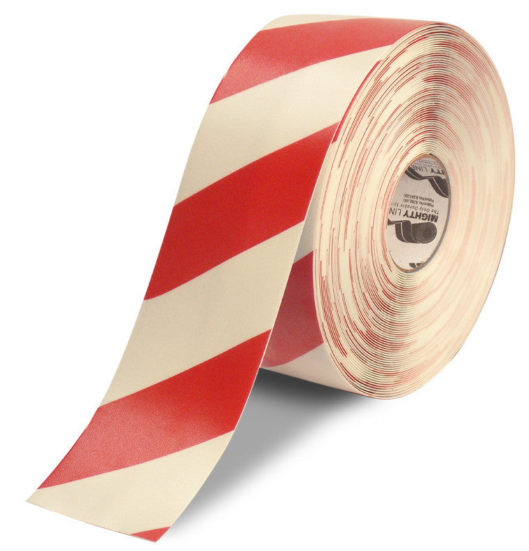 White & Red Diagonal Chevron Marking Tape