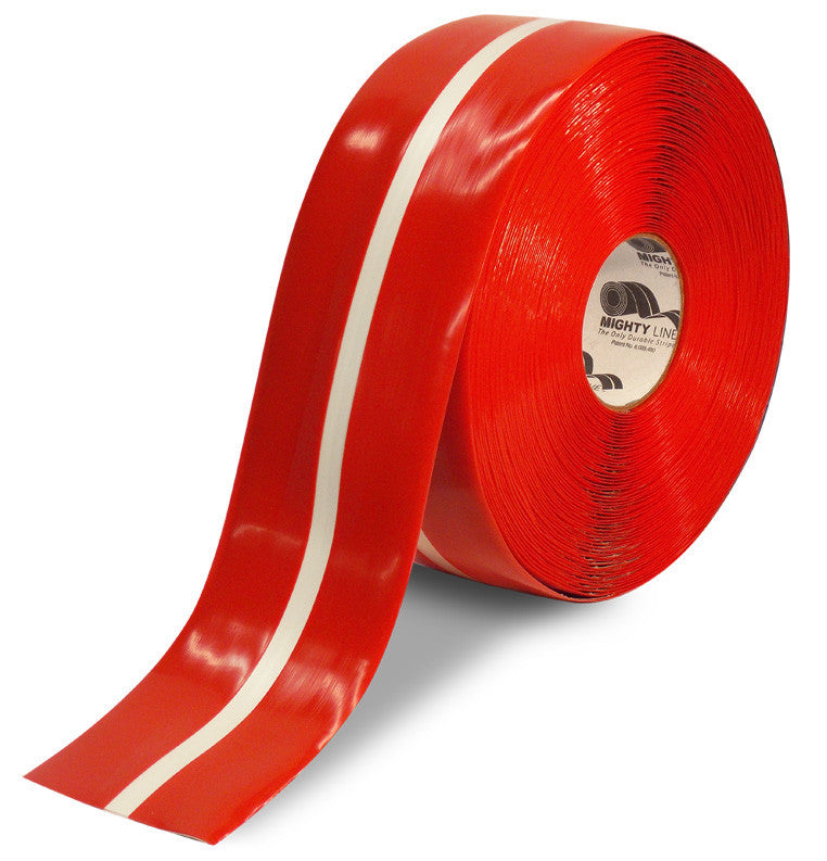"4"" Red Tape with White Center Line - 100'  Roll"