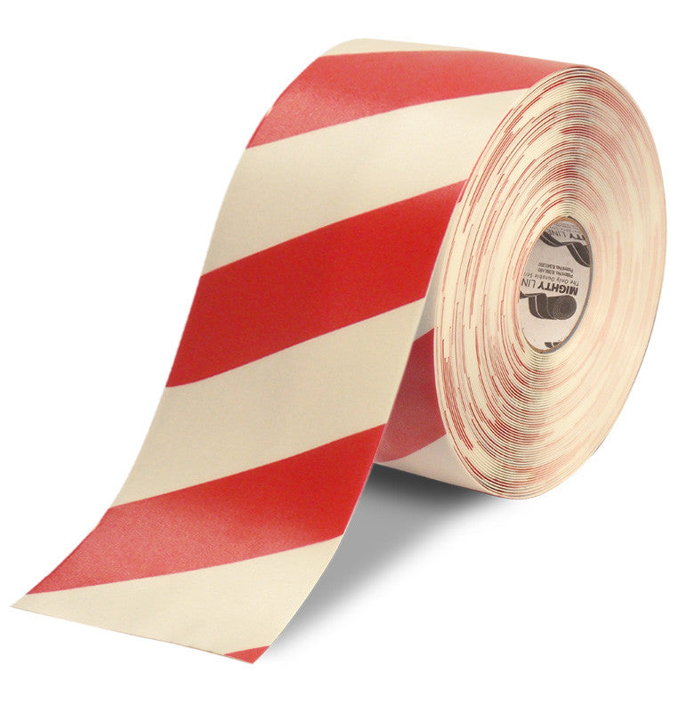 "6"" White & Red Chevrons Floor Tape"