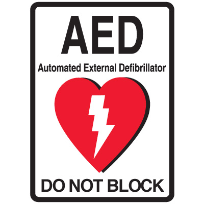 AED Do Not Block Floor Sign