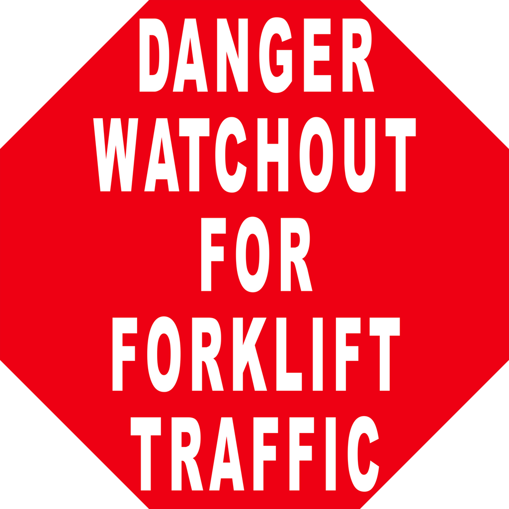 Danger Watchout For Forklift Traffic Floor Sign