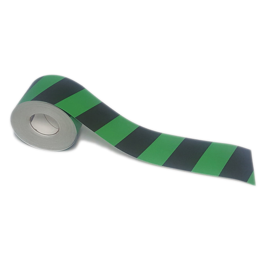 "4"" Green and Black Chevron Floor Tape"
