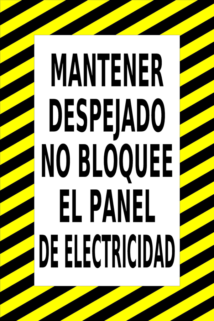 Keep Clear Do Not Block Electrical Panel in Spanish Floor Sign