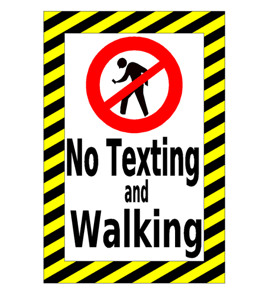 No Texting And Walking Floor Sign Industrial Floor Tape