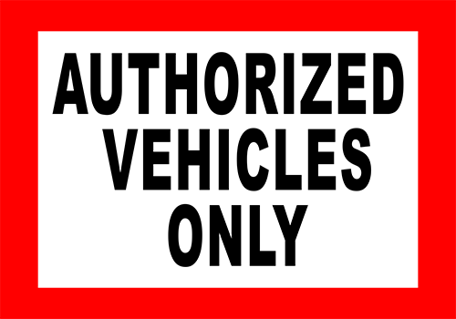 Authorized Vehicles Only Floor Sign