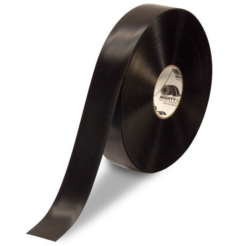 "CUSTOMIZED - 2"" BLACK Solid Color Repeating Message Tape - 100'  Roll"