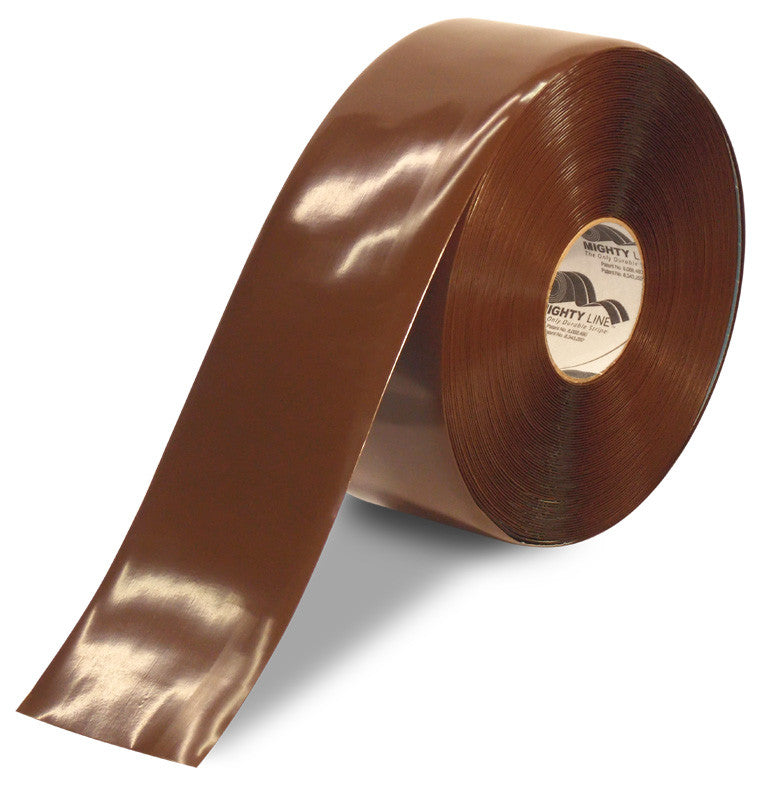 "CUSTOMIZED - 4"" BROWN Solid Color Repeating Message Tape - 100'  Roll"