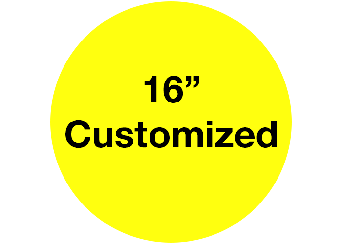 "16"" Custom Yellow Safety Floor Stickers, Circle"
