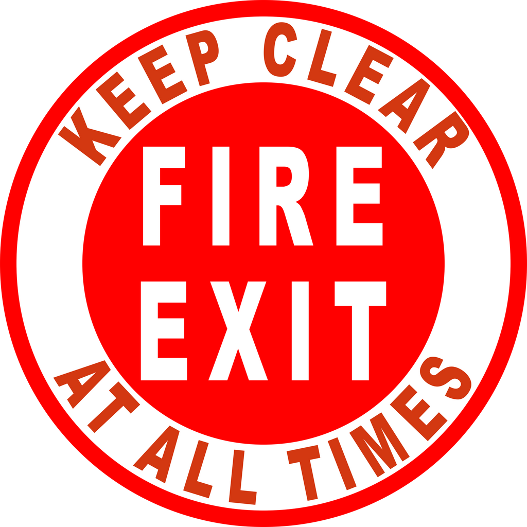Fire Exit Keep Clear At All Times Floor Sign