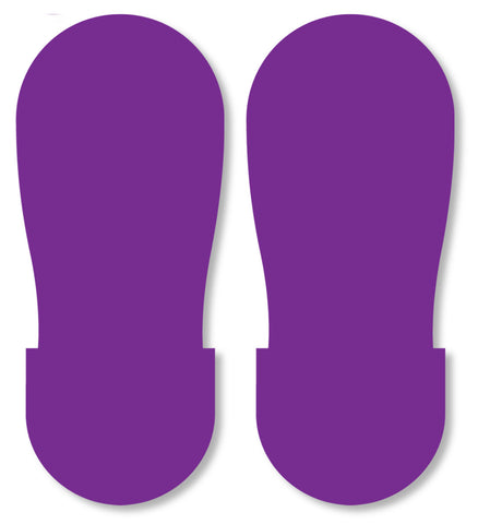 Purple Safety Footprint Floor Decals - Big Feet