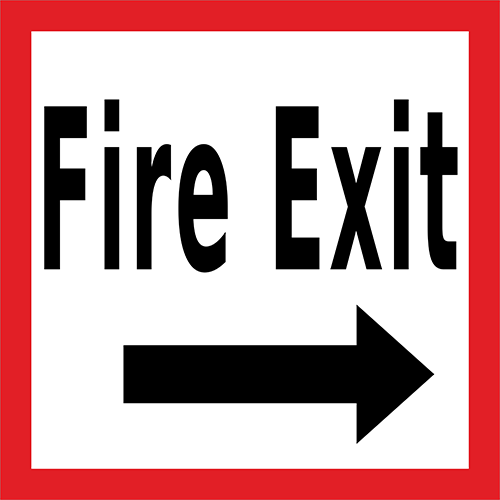 Fire Exit Right Floor Sign