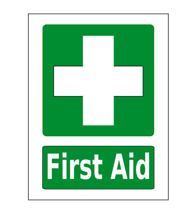 "24"" First Aid Station Floor Sign Green"