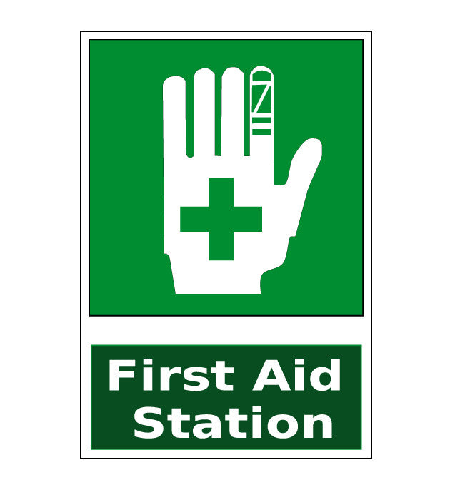 "24"" First Aid Station Green Floor Sign"