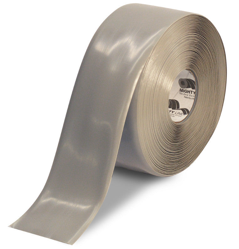 "CUSTOMIZED - 4"" GRAY Solid Color Repeating Message Tape - 100'  Roll"