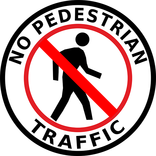 No Pedestrian Traffic Floor Sign